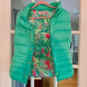 Lilly Pulitzer puffer vest with shadylady print!
